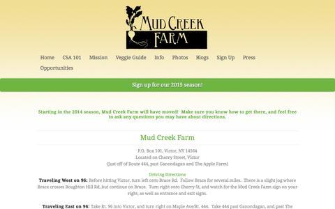 Screenshot of Maps & Directions Page mudcreekfarm.com - Info / Directions | Mudcreek Farm - captured Oct. 26, 2014