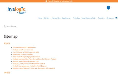 Screenshot of Site Map Page hyalogic.com - Sitemap - Hyalogic - captured July 24, 2018