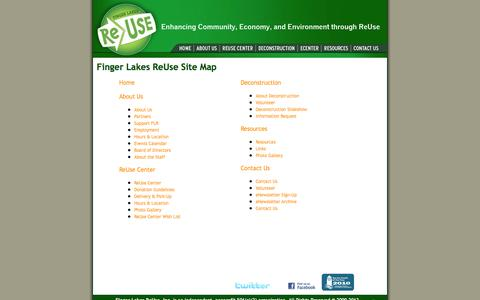Screenshot of Site Map Page fingerlakesreuse.org - Site Map - Finger Lakes ReUse, Ithaca, New York - captured Oct. 6, 2014