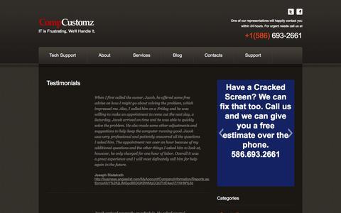 Screenshot of Testimonials Page speedyitsolutions.com - Testimonials - CompCustomz Tech Support In MichiganCompCustomz Tech Support In Michigan - captured Oct. 2, 2014