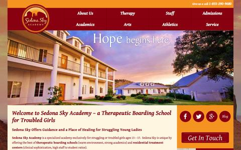 Screenshot of Home Page sedonasky.org - Therapeutic Boarding School - Troubled Girls - Sedona Sky - captured Jan. 27, 2015