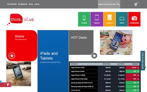 Screenshot of Home Page thinkofus.com.au - Shop Online for Mobiles, Tablets, Gadgets, Parts, Accessories and More at Think of Us - captured June 17, 2015