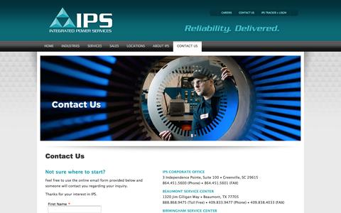 Screenshot of Contact Page ips.us - Contact IPS - Working at IPS - captured Feb. 11, 2016