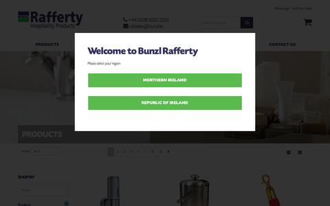 Screenshot of Products Page raffertyhospitality.com - Products - Bunzl Rafferty - captured Oct. 7, 2018