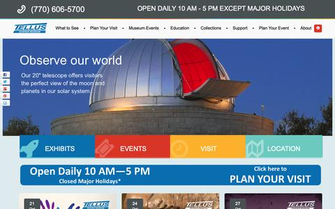 Screenshot of Home Page tellusmuseum.org - Tellus Science Museum - Cartersville, GA - captured Oct. 18, 2018