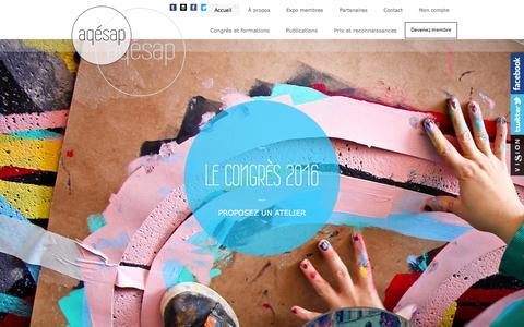 Screenshot of Home Page aqesap.org - L'Association des Éducatrices et Éducateurs Spécialisés en Arts Plastiques | AQESAP - captured June 3, 2016