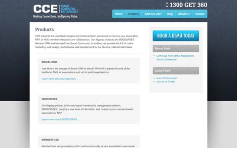 Screenshot of Products Page cce.im - Products - Cloud Computing Enterprises - captured Oct. 2, 2014