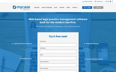 Screenshot of Trial Page mycase.com - Legal Practice Management Software - Trial | MyCase - captured Jan. 11, 2016