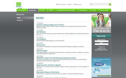 Screenshot of Press Page datev.pl - NEWS - DATEV.pl Sp. z o.o. - captured Oct. 5, 2014