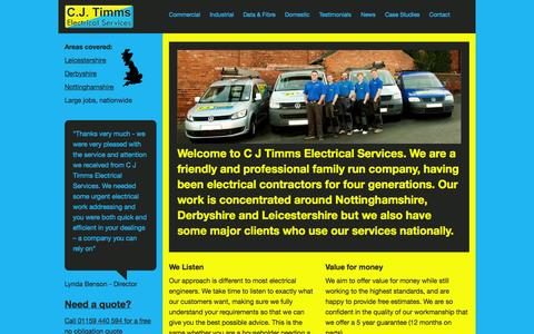 Screenshot of Home Page cjtimms.co.uk - Nottingham Electritions » C J Timms - captured Oct. 1, 2014