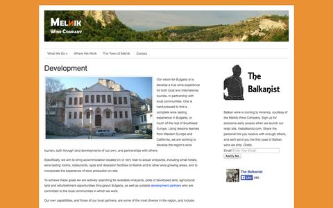 Screenshot of Developers Page melnikwinecompany.com - » Development Melnik Wine Company - captured Oct. 27, 2014