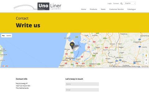 Screenshot of Contact Page unoliner.com captured Nov. 29, 2016