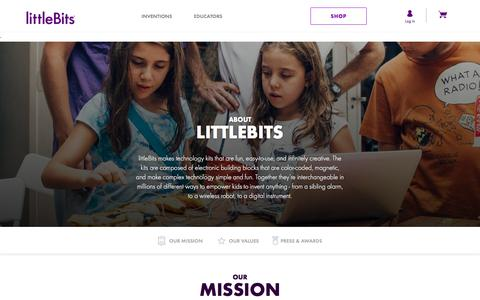 Screenshot of About Page littlebits.cc - About littleBits - Empowering kids of all ages to create inventions. - captured Jan. 18, 2018