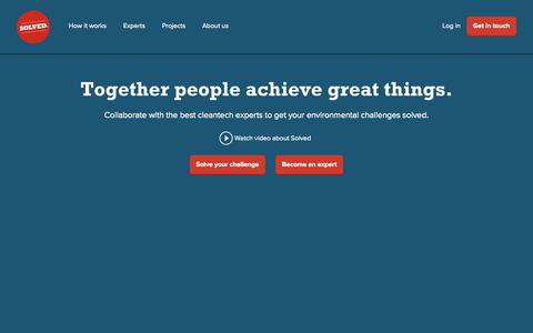 Screenshot of Home Page About Page Login Page solved.fi - Solved - captured Oct. 6, 2014