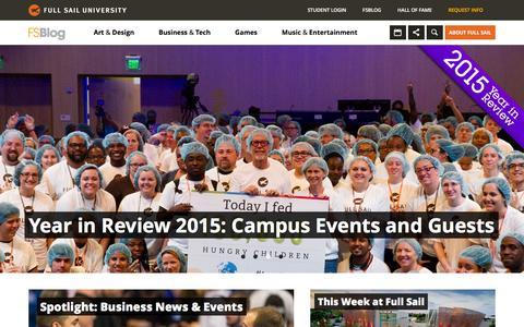 Screenshot of Home Page Blog fullsailblog.com - Full Sail University Blog - captured Jan. 4, 2016