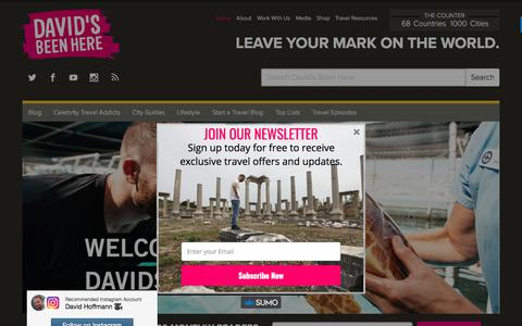 Screenshot of Home Page davidsbeenhere.com - David's Been Here - Leave Your Mark On The World - captured June 28, 2017