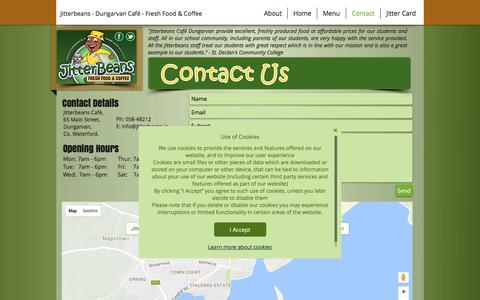 Screenshot of Contact Page jitterbeans.ie - Contact - Jitterbeans - Fresh Food and Coffee - Dungarvan Café - captured Nov. 27, 2016