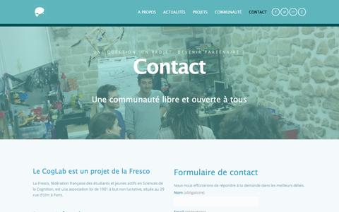 Screenshot of Contact Page coglab.fr - Contact | CogLab / NeuroTechX Paris - captured July 14, 2016