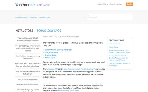 Screenshot of Support Page schoology.com - Where can I find Schoology Help Guides? – Schoology Support - captured March 3, 2017