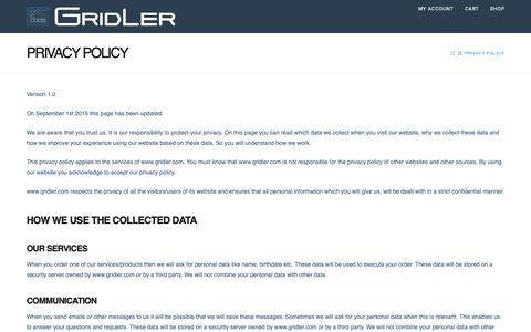 Screenshot of Privacy Page gridler.com - Privacy Policy | Gridler - captured Sept. 27, 2018