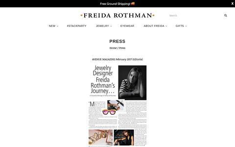 Screenshot of Press Page freidarothman.com - PRESS                         – FREIDA ROTHMAN - captured June 1, 2017