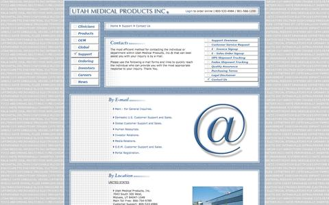 Screenshot of Contact Page utahmed.com - Contact Us - Utah Medical Products, Inc. - captured Oct. 9, 2014
