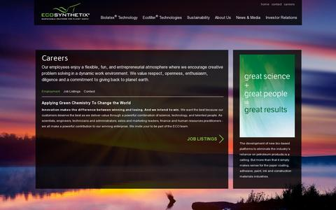 Screenshot of Jobs Page ecosynthetix.com - Ecosynthetix - Careers - captured July 19, 2014