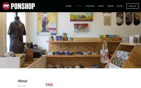 Screenshot of FAQ Page ponshopstudio.com - FAQ — Ponshop Studio and Gallery - captured Jan. 23, 2016