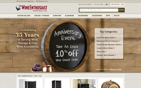Screenshot of Home Page wineenthusiast.com - Wine Enthusiast - Wine Accessories, Wine Storage and Wine Gifts - captured Sept. 23, 2014