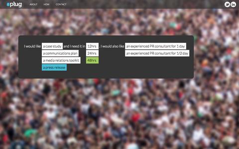 Screenshot of Home Page plug.gg - PLUG - captured Sept. 30, 2014