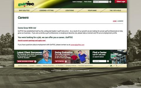 Screenshot of Jobs Page golftec.com - GolfTEC Careers | The Best Jobs in the Golf Industry | GolfTEC - captured Sept. 19, 2014