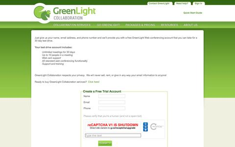 Screenshot of Trial Page greenlightcollaboration.com - Free Web Conference Call Trial | GreenLight Collaboration - captured Sept. 25, 2018