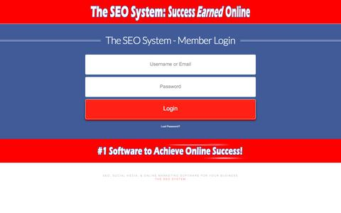 Screenshot of Login Page theseosystem.com - The SEO System:  Member Login - captured Oct. 14, 2017