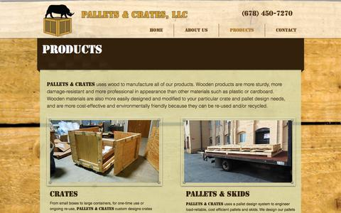 Screenshot of Products Page palletsandcrates.com - Producgts - captured Sept. 25, 2018