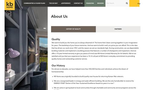 Screenshot of About Page kbhome.com - Our History of Quality | KB Home - captured July 22, 2018