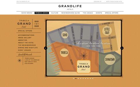 Screenshot of Home Page tribecagrand.com - Tribeca Grand Hotel » Luxury Boutique Hotel » New York, NY » Manhattan - captured Oct. 7, 2014