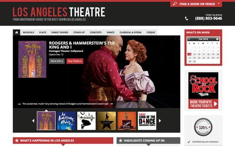 Screenshot of Home Page los-angeles-theatre.com - Los Angeles Theater: Broadway Shows, Musicals, Plays, Concerts in 2016/17 - captured Feb. 14, 2016