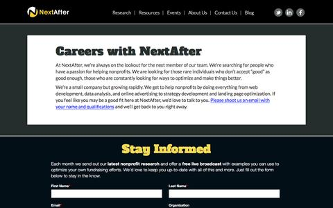 Screenshot of Jobs Page nextafter.com - Careers with NextAfter | NextAfter - captured Dec. 15, 2016