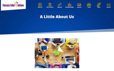 Screenshot of About Page focuseduvation.com - About Us - Focus EduVation - Custom e-Learning Solutions - captured Oct. 29, 2014