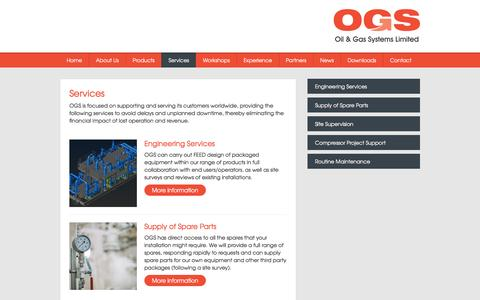Screenshot of Services Page ogsl.com - Oil & Gas Systems Limited - Services - captured Feb. 16, 2016