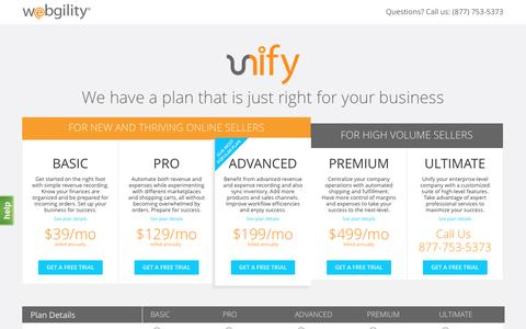 Screenshot of Trial Page webgility.com - Get Started with Unify for Free- Webgility - captured May 11, 2017