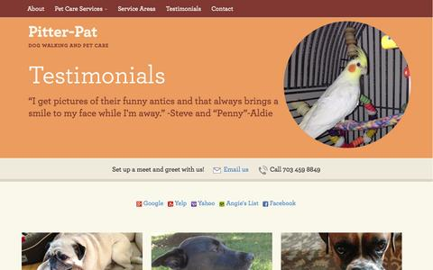 Screenshot of Testimonials Page pitter-pat.com - Testimonials - Pitter-Pat: Dog Walking and Pet Care Services in Ashburn and Aldie, VA - captured Oct. 2, 2014