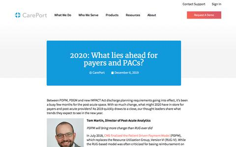 Screenshot of Blog careporthealth.com - 2020: What lies ahead for payers and PACs? - Careport Health - captured Feb. 20, 2020