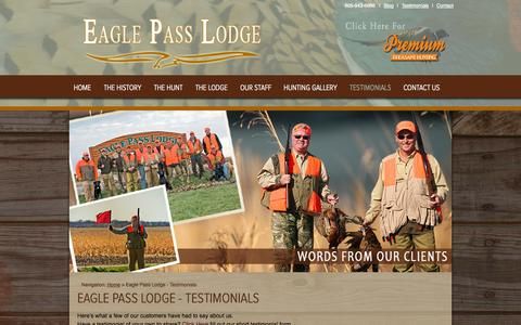 Screenshot of Testimonials Page eaglepasslodge.com - Eagle Pass Lodge - Testimonials - captured Oct. 1, 2014