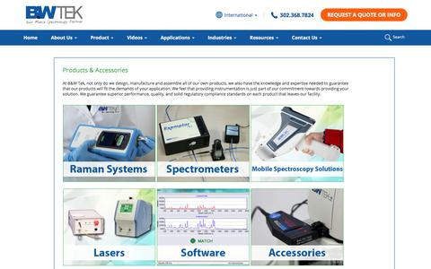Screenshot of Products Page bwtek.com - Spectroscopy and Laser - Products and Accessories - captured Oct. 24, 2019