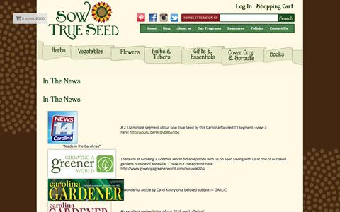 Screenshot of Press Page sowtrueseed.com - In The News - Sow True Seed - Open Pollinated & Heirloom Garden Seeds - captured May 12, 2016