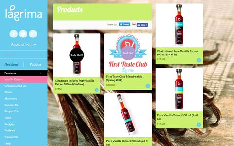 Screenshot of Products Page lagrima.com - Products | Lágrima, LLC - captured May 13, 2017