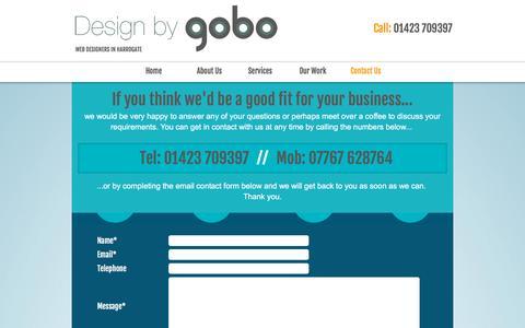 Screenshot of Contact Page designbygobo.com - Web Design Harrogate :Contact Design By GOBO - captured Jan. 7, 2016