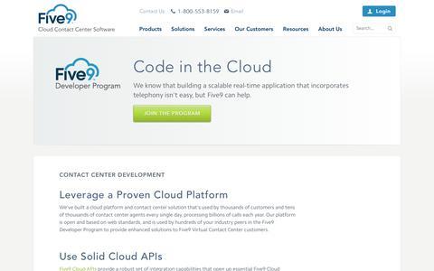 Screenshot of Developers Page five9.com - Contact Center Development Tools | Developer Program | Five9 - captured Oct. 10, 2014