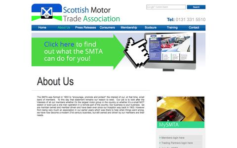 Screenshot of About Page smta.co.uk - About Us | Scottish Motor Trade Association - captured Oct. 6, 2014